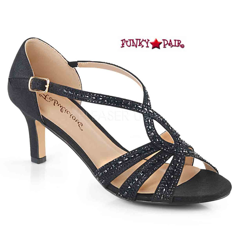 Missy-03, Criss-Cross Ankle Strap Sandal Color Blk Shimmering Fabric