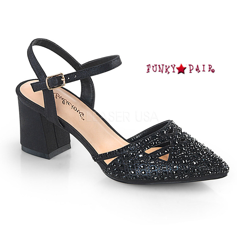 Faye-06, Block Heel Ankle Strap Pump Color Black Shimmering Fabric
