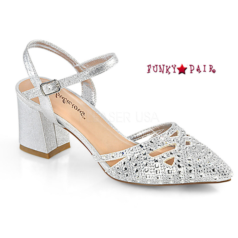 Faye-06, Block Heel Ankle Strap Pump Color Slv Shimmering Fabric