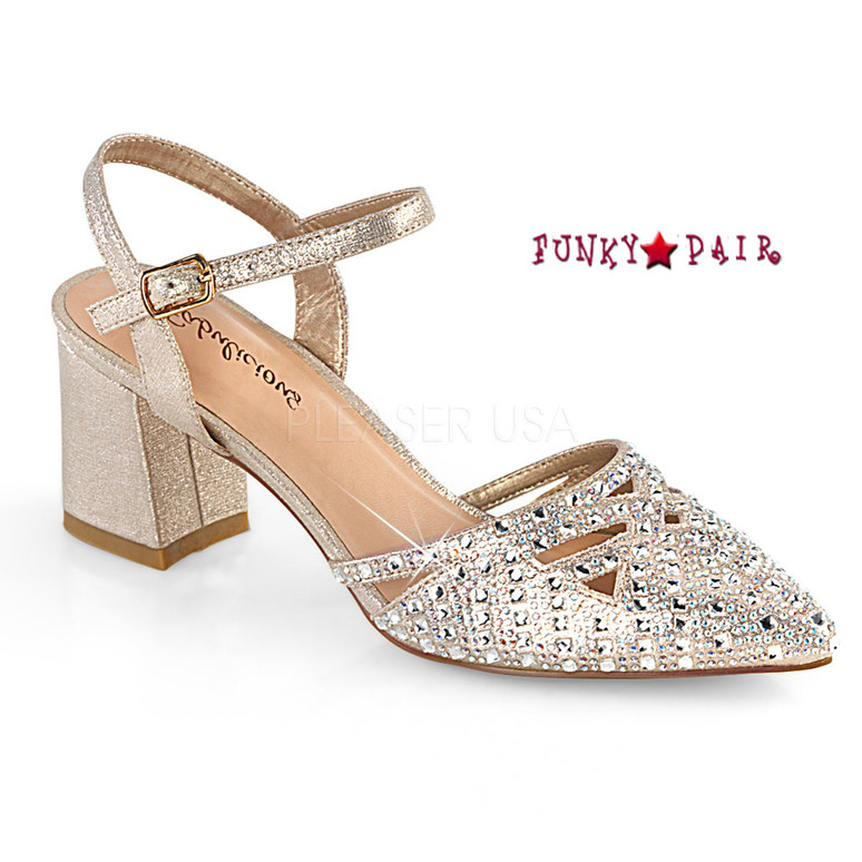 Faye-06, Block Heel Ankle Strap Pump Color Champagne Shimmering Fabric