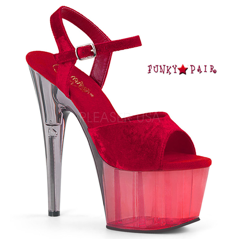 Adore-709MCT, Tint Platform Sandal Color Red Crushed Velvet/Dual Tinted