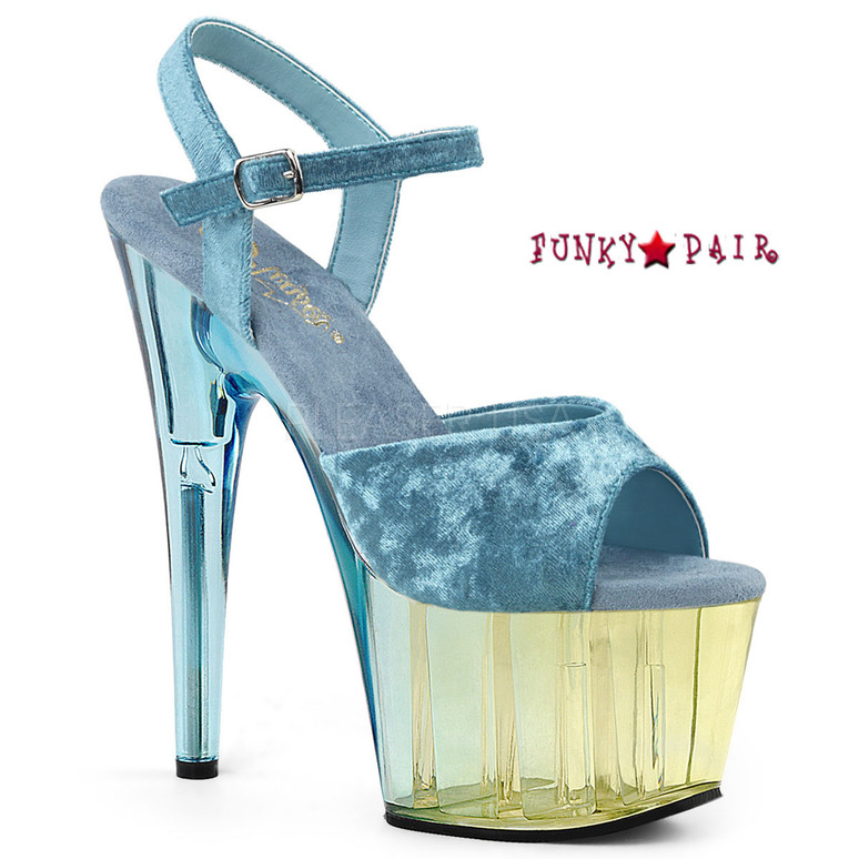 Adore-709MCT, Tint Platform Sandal Color Light Blue Crushed Velvet/Dual Tinted