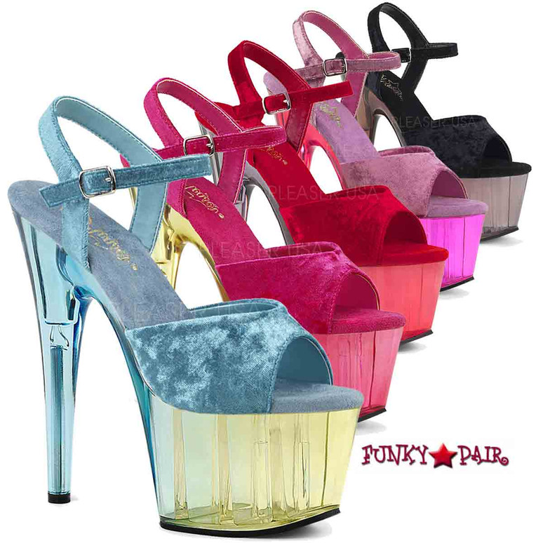 Pleaser | Adore-709MCT, Tint Platform Sandal Color: Light Blue Crushed Velvet/Dual Tinted, Pink Crushed Velvet/Dual Tinted,  Purple Crushed Velvet/Dual Tinted, Black Crushed Velvet/Dual Tinted, Red Crushed Velvet/Dual Tinted. Available size 5 - 11