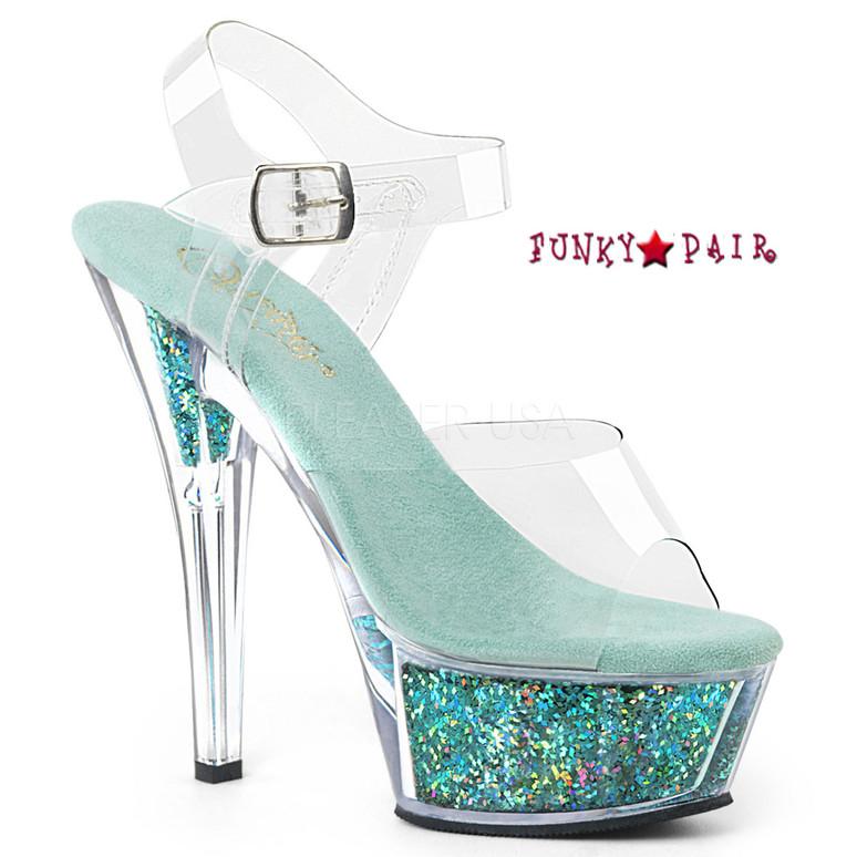 Kiss-208GF, Holographic Glitter Filled Platform Sandal Color Clr/Turquoise Multi Glitter