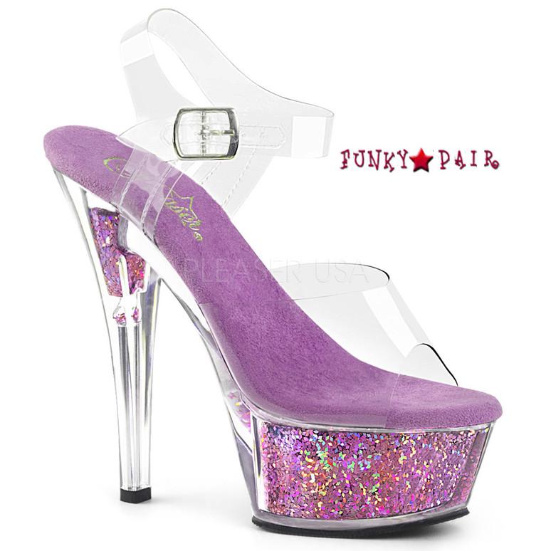 Kiss-208GF, Holographic Glitter Filled Platform Sandal Color Clr/Lavender Multi Glitter