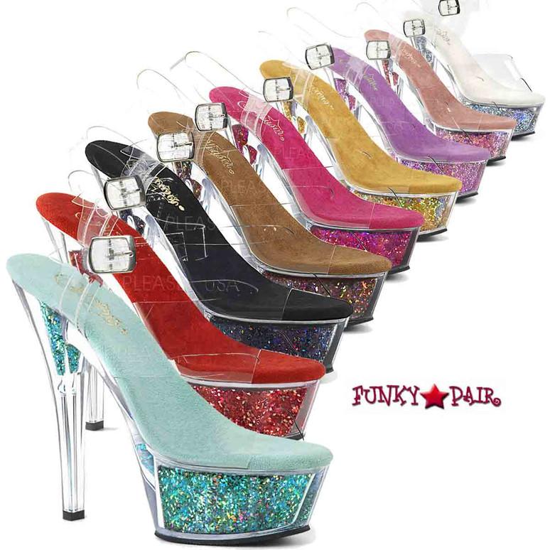 Stripper Shoes   Kiss-208GF, Holographic Glitter Filled Platform Sandal  by Pleaser Shoes