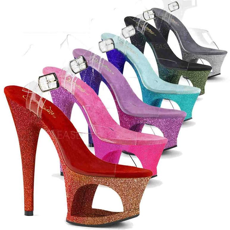 Stripper Shoes Moon-708Ombre, Glitter Ombre Cutout Platform Sandal