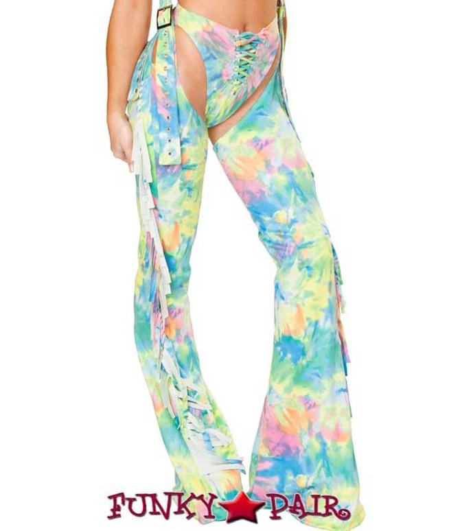 J. Valentine | Fringe Chaps Rave Wear JV-FF101 color multi tie dye close up
