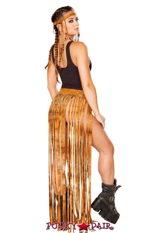 J. Valentine | Fringe Skirt Rave Wear JV-FF194 Color Rusty Tie-Die One Size Back View