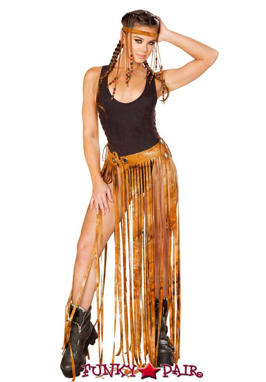 J. Valentine | Fringe Skirt Rave Wear JV-FF194 Color Rusty Tie-Die One Size