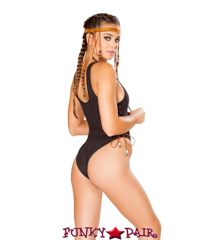 J. Valentine | Faux Suede Bodysuit Rave Wear JV-FF190 color black back view