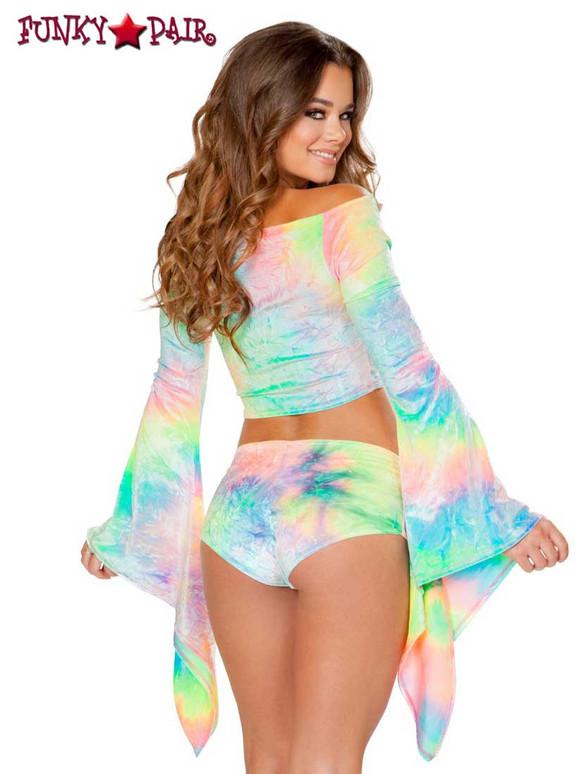 Rave Wear Velvet Crop Top   J Valentine JV-FF115 Color pastel back view