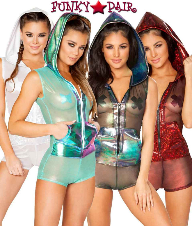 J Valentine | Mesh Hooded Romper Rave Wear JV-FF179 Color available: Black Opal, Mint Aqua, Red, Silver