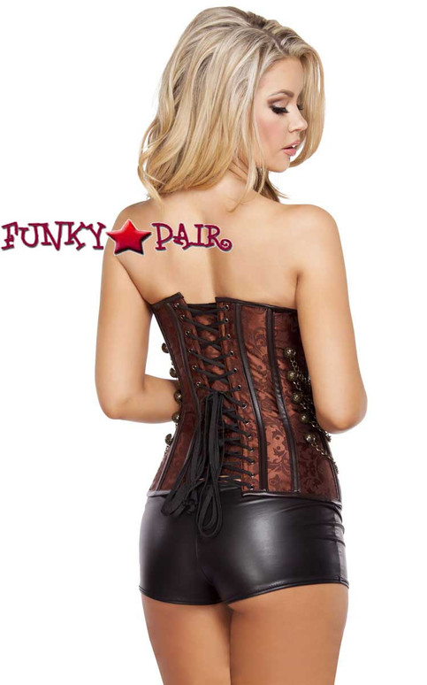 Roma | R-4565, Elegant Brown Corset with Front Clasp Closureback view