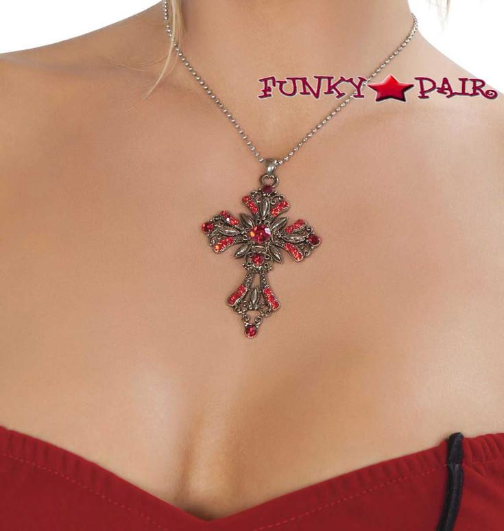 Cross Necklace Roma Costume   R-NEC404 on light skin color