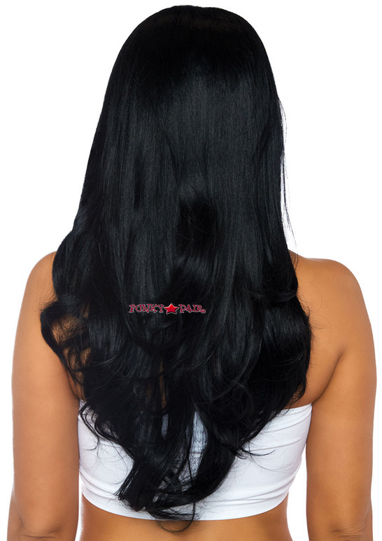 Long Wavy Wig | Leg Avenue LA-2829 black back view