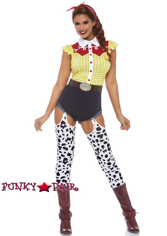Leg Avenue | LA-86777, Giddy Up Cowgirl Romper Costume full view