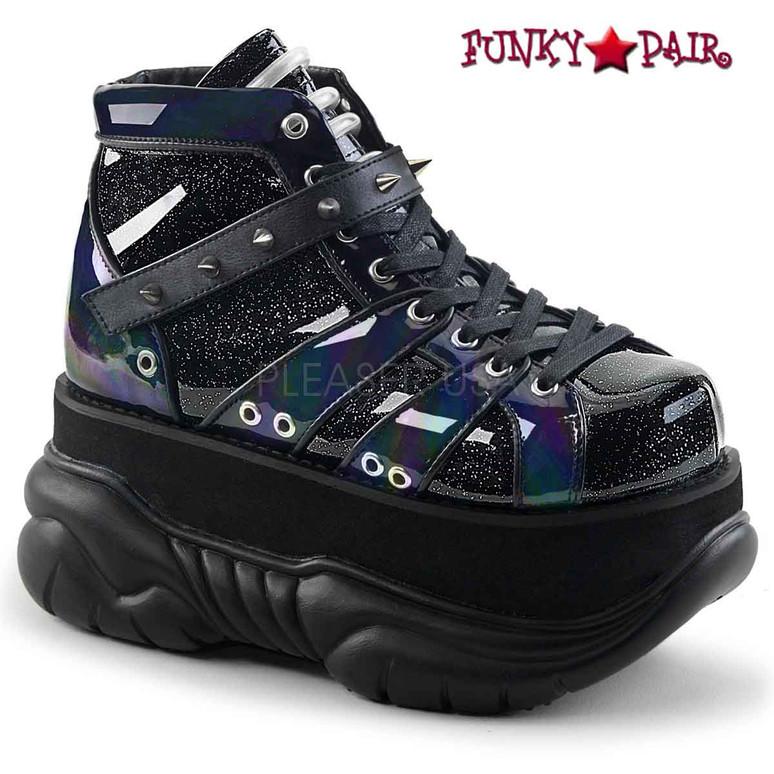 Demonia   Neptune-100, Platform Lace-up Shoes color black Glitter