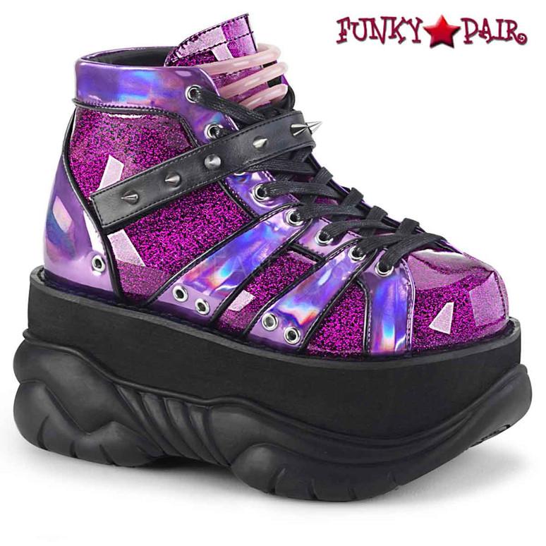 Neptune-100 Men UV Platform Lace-up Goth Shoes by Demonia color purple glitter
