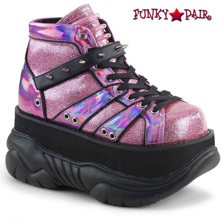 Demonia   Neptune-100, Platform Lace-up Shoes color Pink glitter