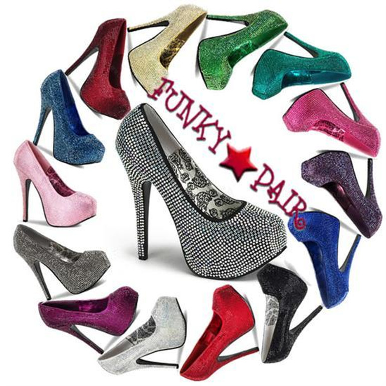 Bordello | Teeze-06R, Platform Rhinestones Pump Color Available: Turquoise, Pewter, Baby Pink, Berry, Burgundy, Red, Silver, Grey/Iridescent, Blue, Royal Blue, Gold, Green, Purple