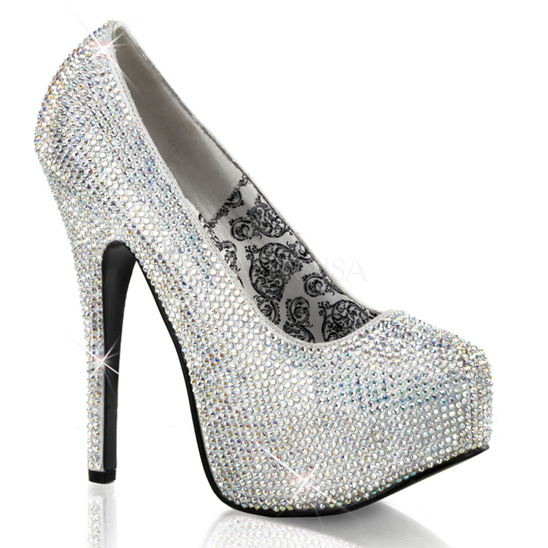 Bordello | Teeze-06R, Platform Rhinestones Pump Color Silver