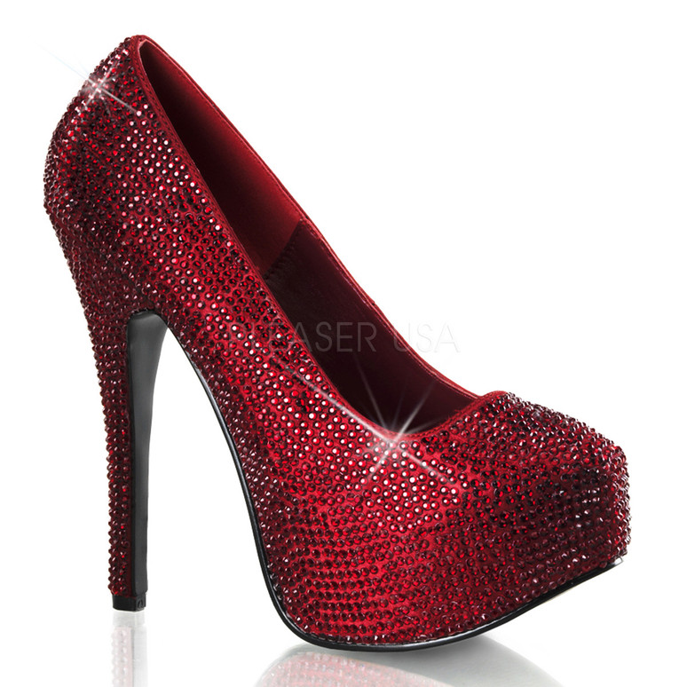 Bordello | Teeze-06R, Platform Rhinestones Pump Color Burgundy