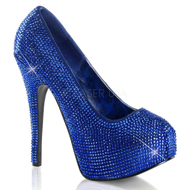 Bordello | Teeze-06R, Platform Rhinestones Pump Color Royal Blue