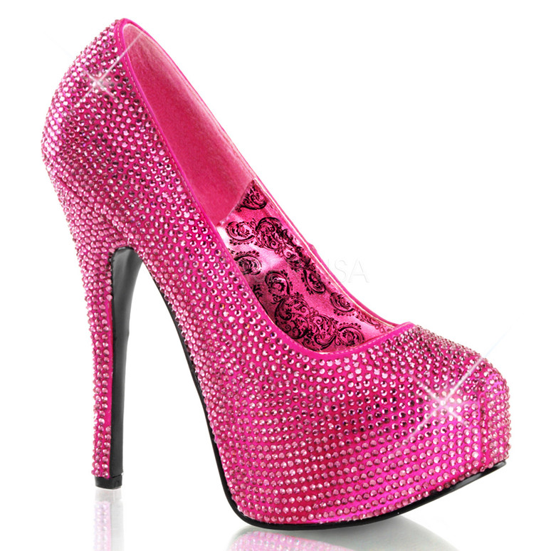 Bordello | Teeze-06R, Platform Rhinestones Pump Color Hot Pink