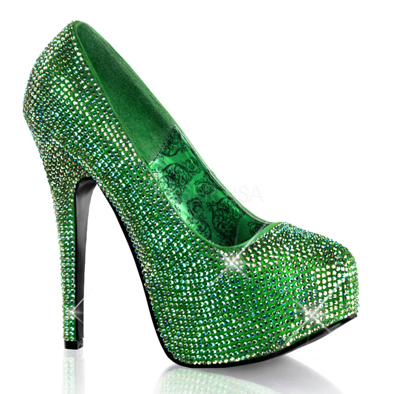 Bordello | Teeze-06R, Platform Rhinestones Pump Color Green