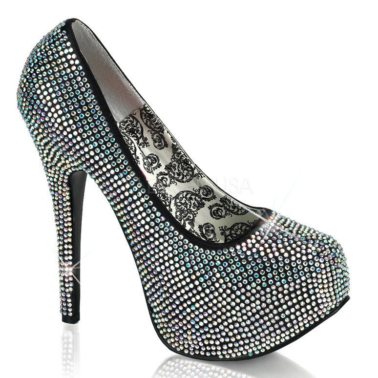 Bordello | Teeze-06R, Platform Rhinestones Pump Color Grey AKA Irridescent
