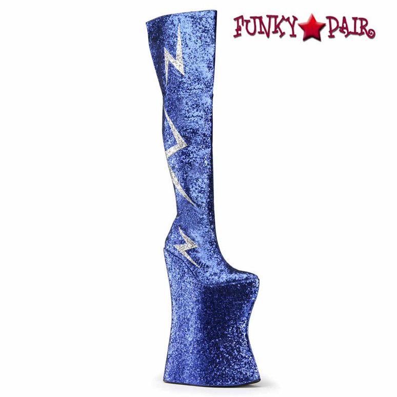 "Vivacious-3016, Spectator 13.5"" Blue Thigh High Lightning Bolt Boots"