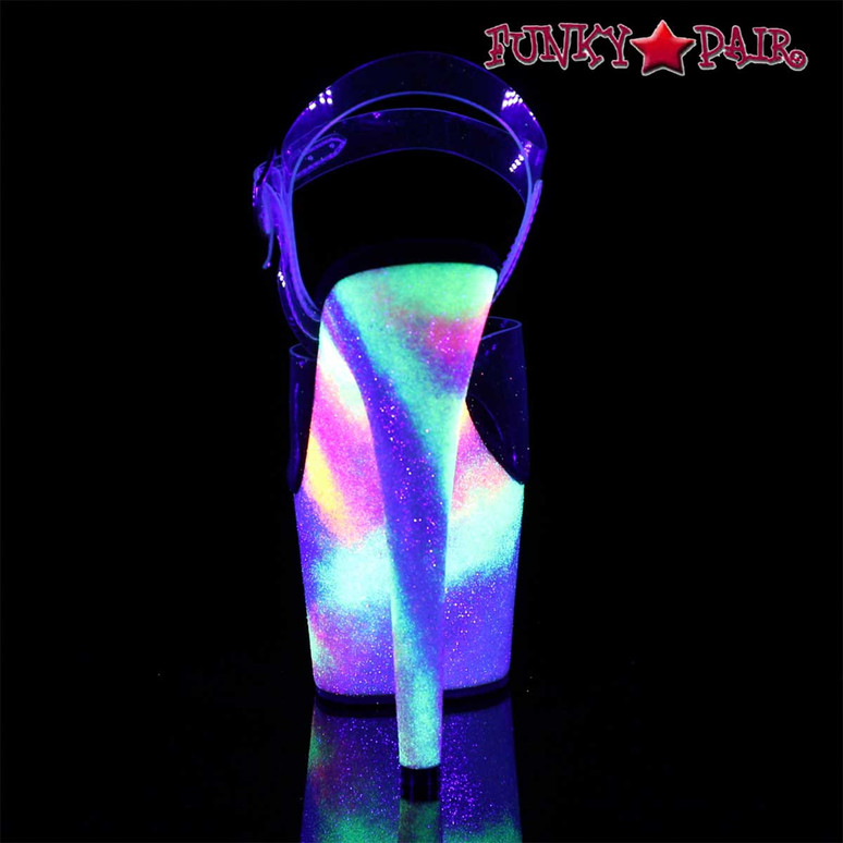 Stripper Shoes Adore-708GXY, Galaxy Effect Platform Ankle Strap Sandal Back View