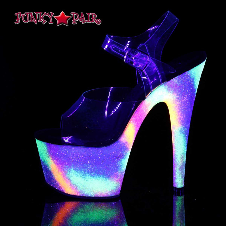 Stripper Shoes Adore-708GXY, Galaxy Effect Platform Ankle Strap Sandal