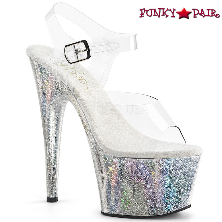 Pleaser | Adore-708HB, Ankle Strap Sandal with Holographic Orb Effect Platform | FunkyPair