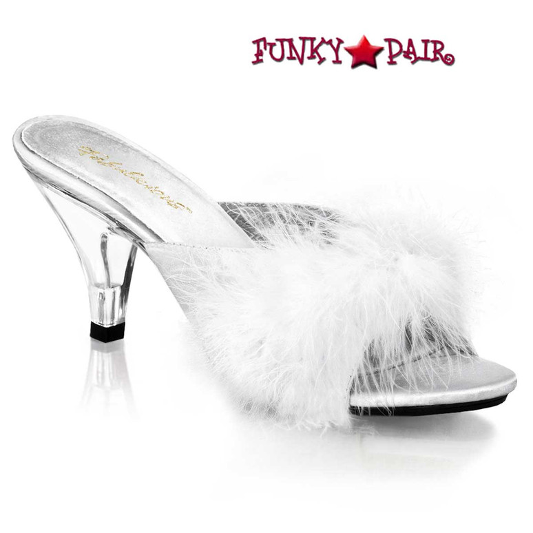 "BELLE-301F, 3"" White Marabou lingerie  Slipper by Fabulicious Shoes"
