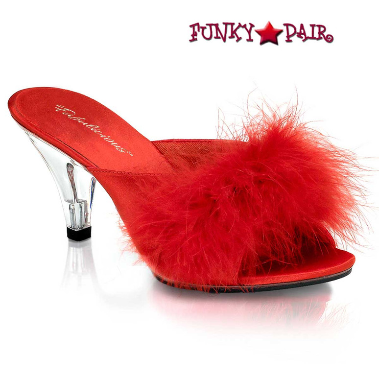 "BELLE-301F, 3"" Red Marabou Slipper by Fabulicious Shoes"