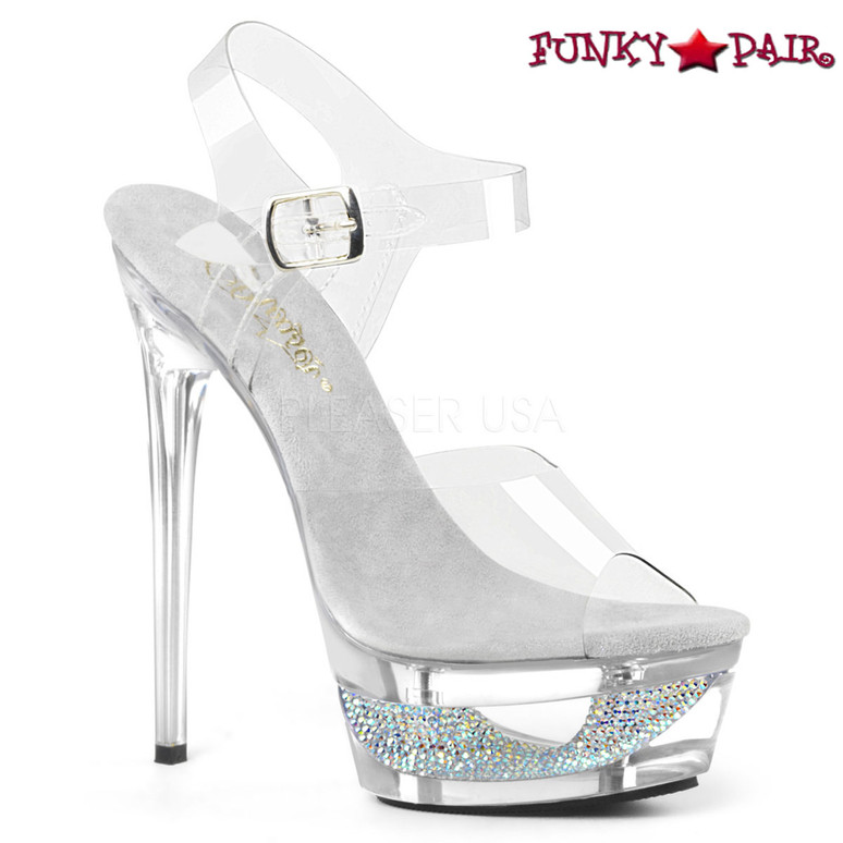 Pleaser | Eclipse-608DM, Cutout Platform with Rhinestones Ankle Strap Sandal color silver