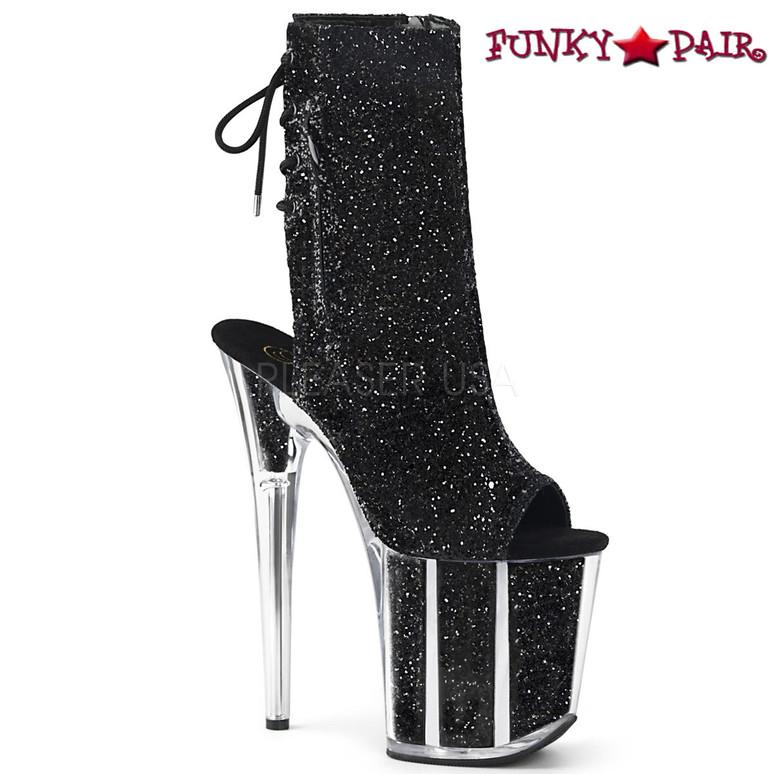 Pleaser | Flamingo-1018G, Open Toe/Back Glitter Ankle Boots color black