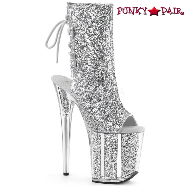 Pleaser | Flamingo-1018G, Open Toe/Back Glitter Ankle Boots color silver