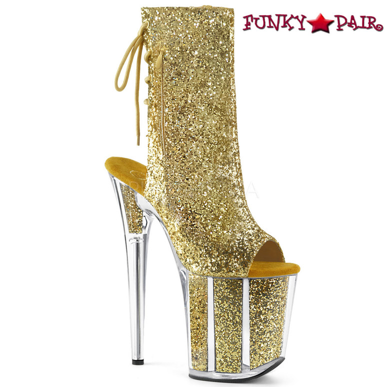 Pleaser | Flamingo-1018G, Open Toe/Back Glitter Ankle Boots color gold