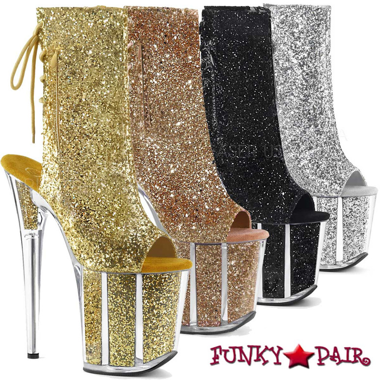 Pleaser Clearance Boots | Flamingo-1018G, Open Toe/Back Glitter Ankle Boots