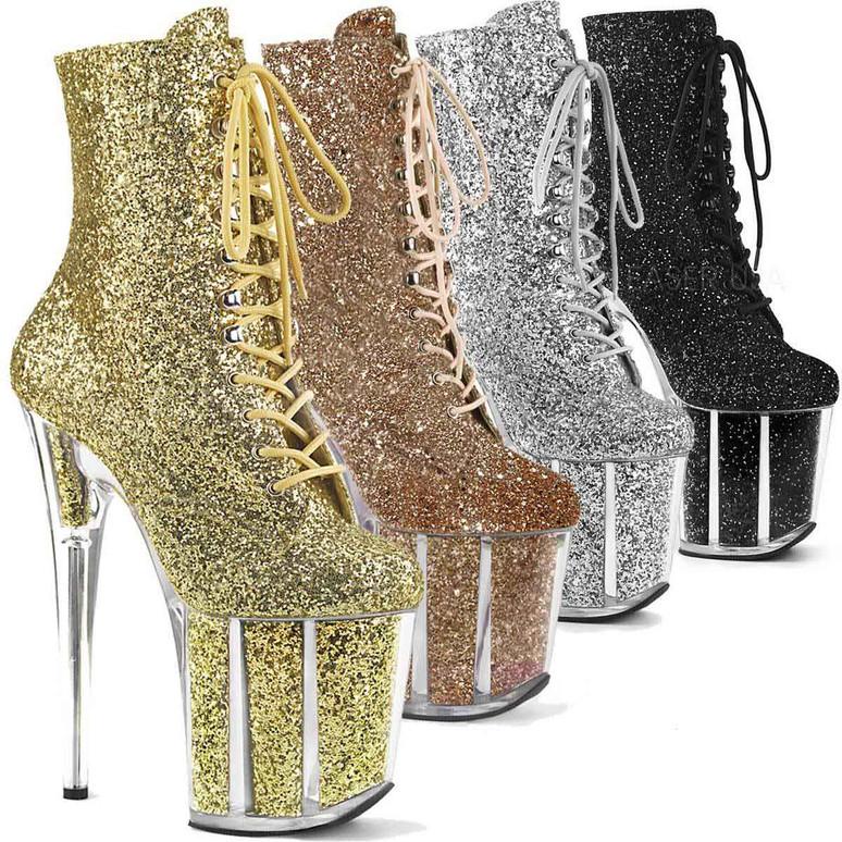 Stripper Glitter Ankle Boots | Pleaser Flamingo-1020G
