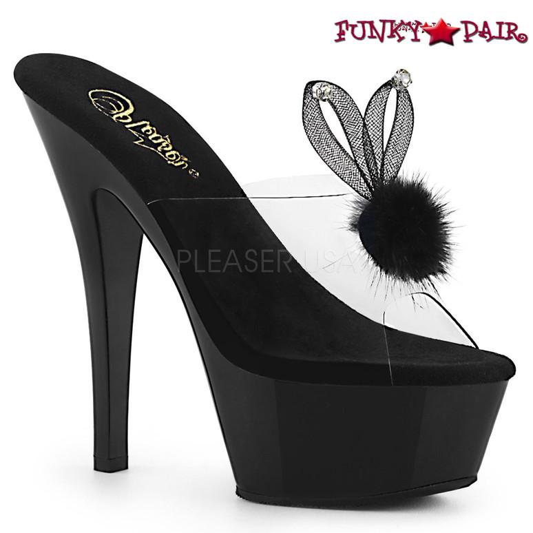 Pleaser   Kiss-201BUNNY, Platform Slide with Bunny Ear color black