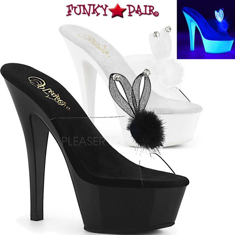 Pleaser Shoes   Kiss-201BUNNY, Platform Slide with Bunny Ear