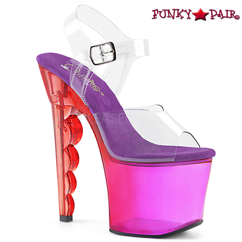 Pleaser   Scallop-708MCT, Tinted Ombre Scallop Heel Platform Sandal color Purple