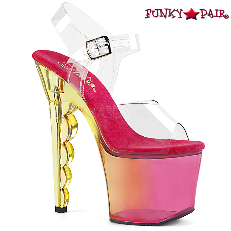 Pleaser   Scallop-708MCT, Tinted Ombre Scallop Heel Platform Sandal Color PInk