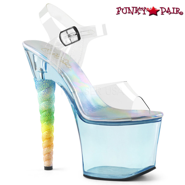 Pleaser | Unicorn-708T, Tinted Platform with Rainbow Unicorn Heel color light blue