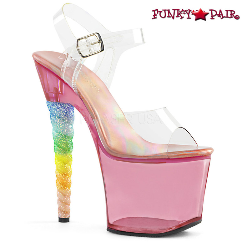 Pleaser | Unicorn-708T, Tinted Platform with Rainbow Unicorn Heel color pink