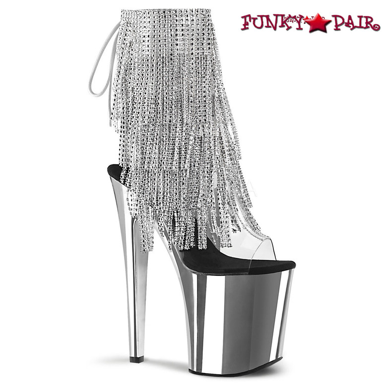 Pleaser | Xtreme-1017RSF, Fringe Ankle Boots with Chrome Platform color silver